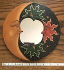 """BALI MOON &  FLAMING SUNS Natural Color MIRROR 8"""" Hand Carved & Painted NEw"""