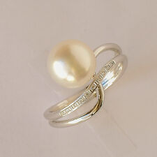 PEARL RING 9.3mm SOUTH SEA PEARL GENUINE DIAMONDS 14K WHITE GOLD SIZE M1/2 NEW