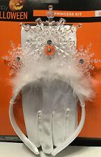 White Ice Princess Light up Tiara Headband & Gloves Set 3pc Kit Pretend Dress up
