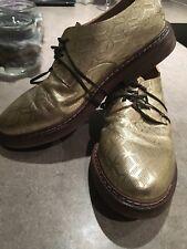 Marsell derby Metallic Gold Scarpe in pelle con Guidi Kangaroo lacci 40 (42)