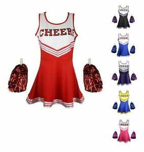 CHEERLEADER FANCY DRESS OUTFIT UNIFORM COSTUME WITH POM POMS