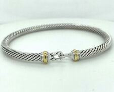 DAVID YURMAN 4MM CABLE CLASSIC BUCKLE STERLING SILVER & 18K BRACELET - MEDIUM