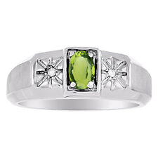 Peridot & Diamond Ring Mens August Birthstone Sterling Silver