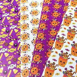 Halloween Pumpkin Canvas Sheets, for bow making, approx A4, crafts