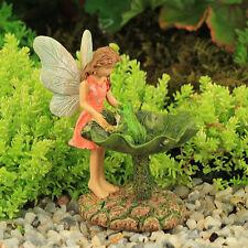 Leaf Bird Bath with Frog and Fairy ~ Fairy Garden ~ Miniature ~ Magical Garden