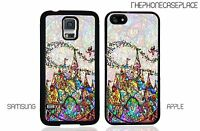 Disney Stained Glass Characters Castle Tinker bell Apple or Samsung Phone Case