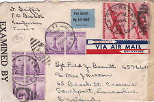 United States 1942 Kaufman Texas to England opened by examiner 6797 cover GC D