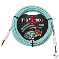 """Pig Hog PCH20SG Vintage Seafoam Green Instrument Guitar Bass Cable 1/4"""" In. 20ft"""