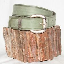 "Vintage Guess green Leather Belt size M 30 & 1¼"" w/ dull silver cross buckle"