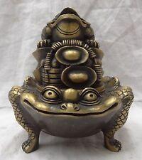 ancienne cuivre chinoise Gravure Toad,or,pièces de monnaie brûleur d'encens