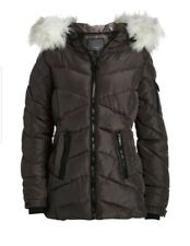 Steve Madden - Charcoal & White Faux Fur Quilted Puffer Coat - Plus Size: 1X