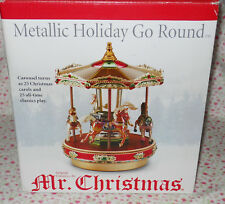 MR. CHRISTMAS *NEW* METALLIC HOLIDAY GO ROUND MUSICAL CAROUSEL PLAYS 50 SONGS