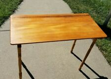 """Vintage Wood Sewing Table Folding 36 x 18"""" Antique Portable with Stenciled Ruler"""