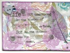 ACEO ATC Art Card Collage Original Women Life Measure Number Breaths Moments