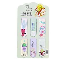 6pcs /Set Fresh Cactus Magnetic Bookmarks Books Marker of Page Stationery FR