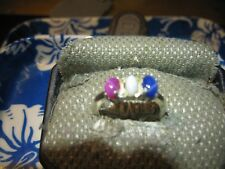 ALL AMERICAN LINDE STAR SAPPHIRE RING 925 STERLING SILVER 7.5