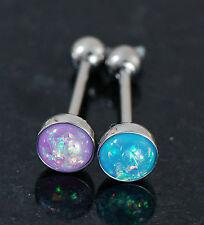 "2 Pc 14g 5/8"" Purple&Aqua Opal Glitter 316L Surgical Steel Tongue Ring Barbeell"