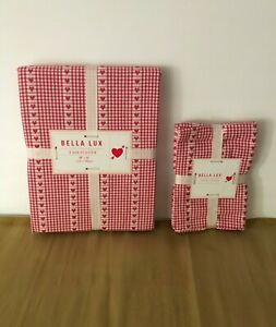 BELLA LUX~GINGHAM COTTON TABLECLOTH & NAPKINS~RED/WHITE WITH HEARTS~NWT
