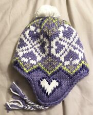 NEW Lands End Kids Girls HAT Purple Heart Peruvian Lined Over Ear Knit One Size