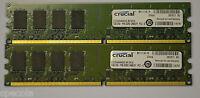 4GB DDR2 PC2-6400  2 x 2GB CRUCIAL CT25664AA800 DDR2 RAM 800 MHz DIMM 240-pin