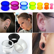 1-4 Pairs Double Flared Acrylic Color Transparent Ear Plugs Gauges Sets 6G-5/8""