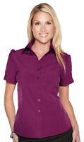 Tri-Mountain Women's Short Sleeve Ruffle Trim Woven New Look T-Shirt. LB752