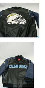 San Diego LA Chargers Football NFL Black Faux Leather Men's XL Coat Jacket NICE!