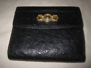 Gianni Versace Sun King Leather Billfold Wallet Black Ostritch Pattern - Vintage
