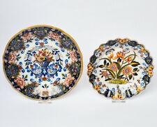 2 Keramikteller Fayence Wandteller Makkum Niederlande Blumendekor Ø 24 / 20 cm
