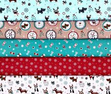 5 Freddie & Friends Christmas Dogs Cotton Fat Eighths Fabric Squares 22.5 x 55cm