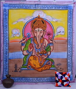 Indian God Ganesh Tapestry, Hippy Bohemian, Queen Wall Hanging Bedspread Throw