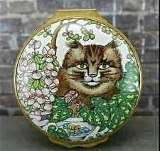 Vintage Halcyon Days Enamels England Cat Trinket Box