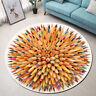 Creative Colored Pencils Pattern Area Rugs Bedroom Living Room Round Floor Mat