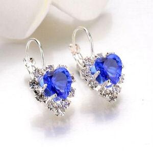 LUXURY BLUE CRYSTAL HEART LEVERBACK HOOP EARRINGS