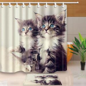 Two Gray Cats Animal Theme Bathroom Waterproof Fabric Shower Curtain & 12 Hooks