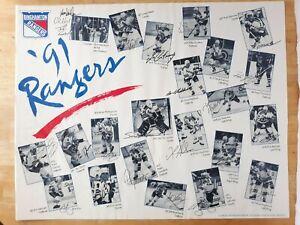 1991 AHL Binghampton Rangers Autograph Poster Laviolette Al Hill Zamuner Germain
