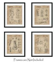 "Outer Space Patent Prints 8""x10"" Set of 4 - Wall Art Decor Aerospace Lovers Gift"