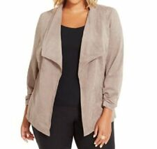 Alfani Woman Jacket Sz 1X Alfani Taupe Faux Suede Business Dinner Casual Jacket