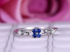 0.5ct Round Cut Blue Sapphire Minimalistic Engagement Ring 14k White Gold Over