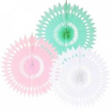 Dekofächer pastellfarben, 40 cm, 3er Set für Hochzeitsdeko