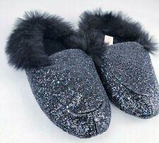 Victoria's Secret Black Glitter House Glam Slippers Bling Black Fur Women L 9/10