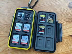 SD cards assorted including waterproof case. Lexar Sandisk 8gb 16gb 32gb