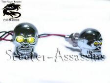 CHROME SKULL YELLOW / AMBER LED lamps/lights Number/Licence plate bolts pair UK