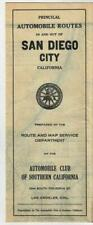 1919 Routes of San Diego City Auto Club Southern California Road Map ACSC AAA CA