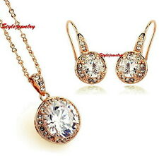 Rose Gold Filled Round Drop Wedding Bridal Made with Swarovski Crystals Set XS8