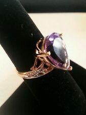 10K Solid Yellow Gold Diamonds and 5.25 CTW Amethyst Size 7 Designer Ring