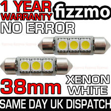 2x ERROR FREE CANBUS 3 SMD LED 38mm 239 272 C5W XENON WHITE NUMBER PLATE BULB UK
