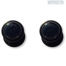 2 pezzi BLACK Agate Gemstone BLACK Fakeplug-Fake piercing Stone Plug 2 pieces