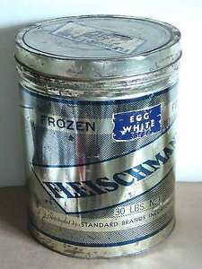 "30 LB Fleischmann's Egg Whites Can Tin Adver Standard Brands NY vtg 13"" FREE SH"