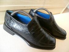 Vtg Oliver Sweeney full leather loafer UK 7.5 41.5 mens sq toe croc skin effect